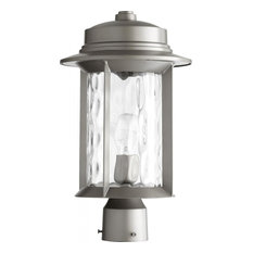 One Light Clear Hammered Glass Graphite Post Light