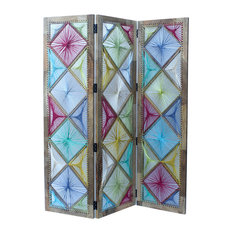 GDF Studio Eposs Bright Multi Colored Fabric Wall Divider With Mango Wood Frame