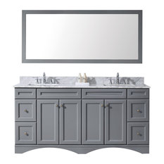 "Virtu Talisa 72"" Double Bathroom Vanity, Gray With Marble Top, With Mirror"