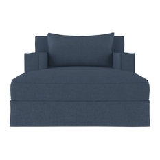 Mulberry Box Weave Linen Chaise Bluebell