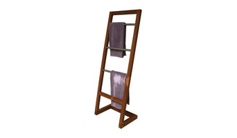 Angled Teak & Stainless Towel Stand - From the Spa Collection