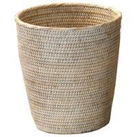 DWBA Malacca Round Wastebasket Trash Can For Bathroom, Kitchen, Office, Rattan