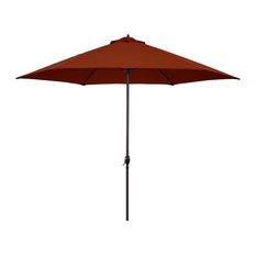 Astella 11' Round Outdoor Patio Umbrella With Autocrank Lift, Polyester, Brick