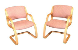 Orange and Light Oak Wood Office Chairs - A Pair