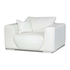 Mia Bella Sophia Leather Chair and Half, White