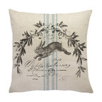 French Bunny Linen Throw Pillow