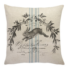 TheWatsonShop - French Bunny Linen Throw Pillow - Decorative Pillows