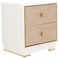Elegant Bedside Table, 2 Drawer With Oak Veneer and Gold Edge