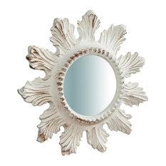 Ornate Wooden Wall Mirror, White, Round, 25x25 cm