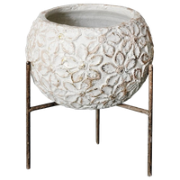Ceramic Planter Pot With Metal Stand, Alabaster