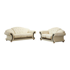 Versachi 2-Piece Traditional Leather Living Room Set, Beige