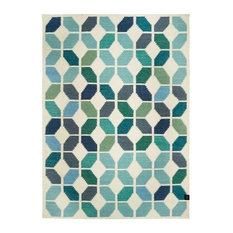 Classic Collection Tropical Area Rug, White and Aqua, 230x170 cm