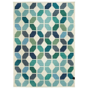 Classic Collection Tropical Area Rug, White and Aqua, 200x140 cm