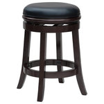 """Boraam - Javier Counter Stool, Cappuccino, 24"""" - The Javier Counter Stool from Boraam Industries, Inc. boasts a solid hardwood footrest and upholstered cushioned seat. Boasting a 360-degree swivel mechanism, this piece has been designed with your comfort in mind. This stool also features a high-density foam seat cushion upholstered in shiny black bonded leather. Exuding a warm, luxurious feel, thanks to its rich colors and sumptuous textures, this stool from Boraam Industries, Inc. makes a sophisticated addition to any interior space."""