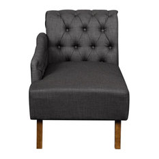 Tufted Chesterfield Back Chaise Lounge in Slate Gray