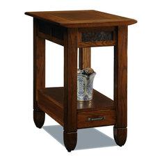 Leick Furniture Slatestone Chairside End Table In A Rustic Oak Finish