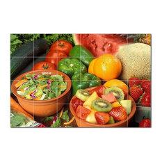 Fruits Vegetables Ceramic Tile Mural Kitchen Backsplash Bathroom Shower, 405228