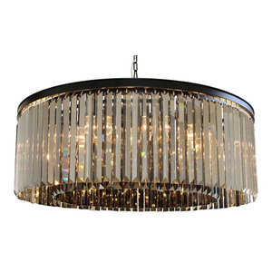Lightupmyhome D'Angelo 12-Light Round Clear Glass Fringe Crystal Chandelier, Smo