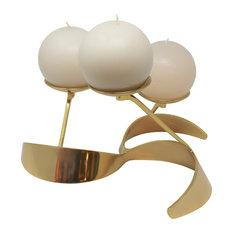 Modern Round Gold Metal Pinwheel Candleholder 3 Pillar Centerpiece Curved Brass