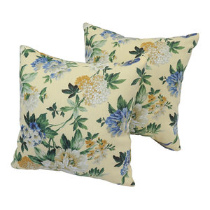 "Blaziing Needles 17"" Outdoor Throw Pillows, Green and Blue, Set of 2"