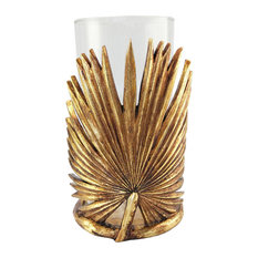 Polyresin Leaf Candle Holder With Glass, Gold Full