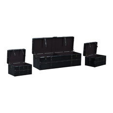 Sofamania 3 Piece Clic Faux Leather Storage Chests Dark Brown Bins