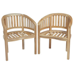 vidaXL Teak Banana Chairs, Set of 2