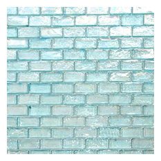 Iridescent Brick Glass Mosaic Tile, Aqua Blue