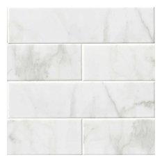 "Ceramic Glossy Subway Tile, Carrara White, 50 Pieces, 4""x16"""