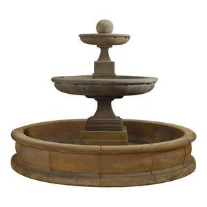 Hampton Short Pond Outdoor Cast Stone Garden Fountain, Dorato (DO), Easy Pond