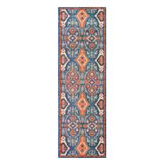 "Traditional Vintage Diamond Drops Rug, 2'6""x12'"
