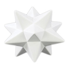 Ceramic 12 Point Stellated Icosahedron Sculpture, Small, Gloss Finish, White
