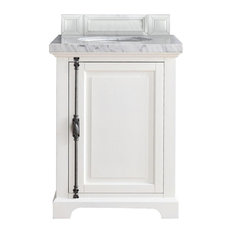 "Providence 26"" Cottage White Single Vanity w/ 3cm Shadow Gray Quartz Top"