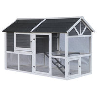 Multi-Level Barn Style Fir Wood Chicken Coop/Hutch, 3 Nesting Areas, Gray, 73""