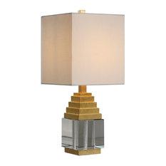 Art Deco Gold Crystal Block Mini Table Lamp, Cube Midcentury Modern Square