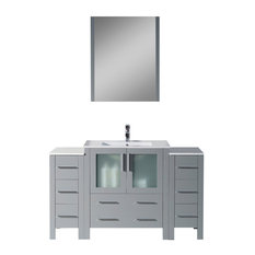 "Sydney 54"" Vanity Set With Double Side Cabinets, Metal Gray"