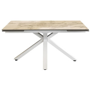 Ceramic Extendable Star Base Dining Table, White Marble