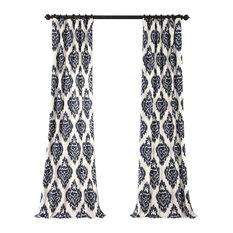 "Ikat Blue Printed Cotton Curtain Single Panel, 50""x108"""