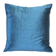 "Pillow Decor Sankara Silk Throw Pillows 16""x16"", Marine Blue"