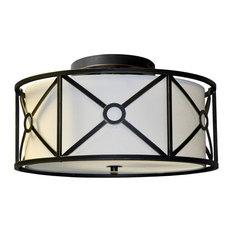 Cruz 3-Light Steel and Fabric Flush Mount Fixture, Vintage Oiled Bronze, Cream