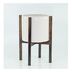 Large Ceramic Cylinder Planter 10'' White With Plant Stand Dark Walnut(Ash)