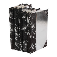 Metallic Hide Books, Black and Silver, Set of 5