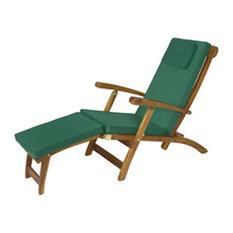 All Things Cedar Teak Steamer Chair Cushion, Green