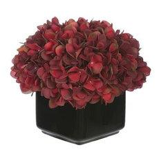 Artificial Burgundy Hydrangea in Small Black Cube Ceramic