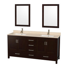 "Sheffield 72"" Espresso Double Vanity, Ivory Marble Top, Undermount Square Sink"