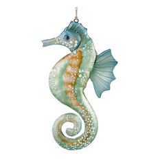 "C & F Home - Coastal Seahorse Seafoam Green Blue Metal Christmas Holiday Ornament 8.5"" - Christmas Ornaments"