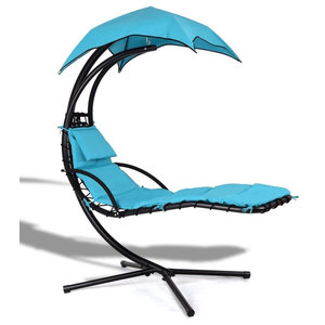 Cloud 9 Hanging Chaise Lounger Blue Contemporary Hammocks And Swing Chairs By Uber Bazaar