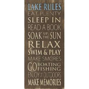 Lake Rules Print Print1216 Seaside Postcard Shower Curtain