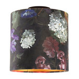 Ceiling lamp with velor shade flowers with gold 25 cm - Combi black