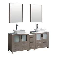 """Torino 72"""" Gray Oak Double Sink Bathroom Vanity, Side Cabinet, Vessel Sinks"""
